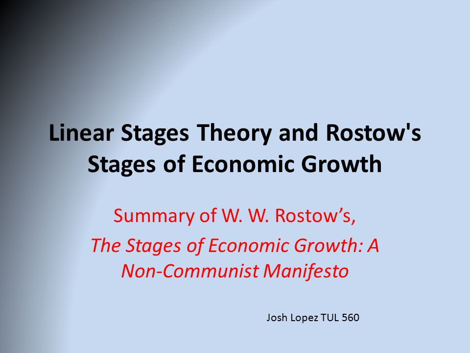 rostow s stages of growth Rostow's stages analysis only focuses the sequence of stages it fails to predict the course of events with regard to economic growth also, what would happen after the 5th stage of growth is beyond the canvas of rostow's growth analysis.