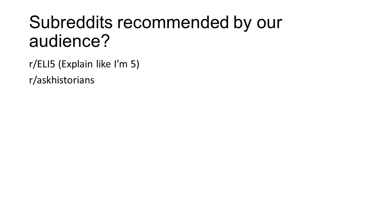Subreddits recommended by our audience
