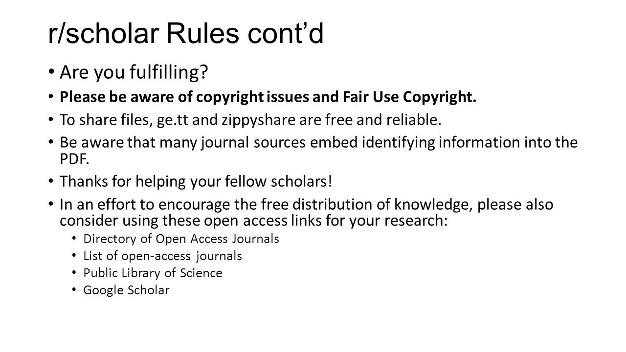 r/scholar Rules cont'd