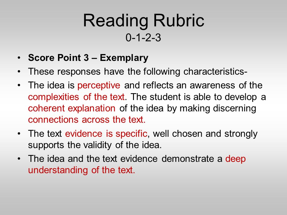 rubrics for literature essays Literature rubric 1 basic rubric for assessment of essays about literature criteria levels of mastery beginning developing accomplished excellent.