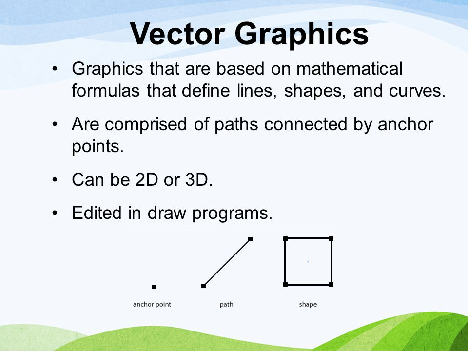 Vector Graphics Graphics that are based on mathematical formulas that define lines, shapes, and curves.