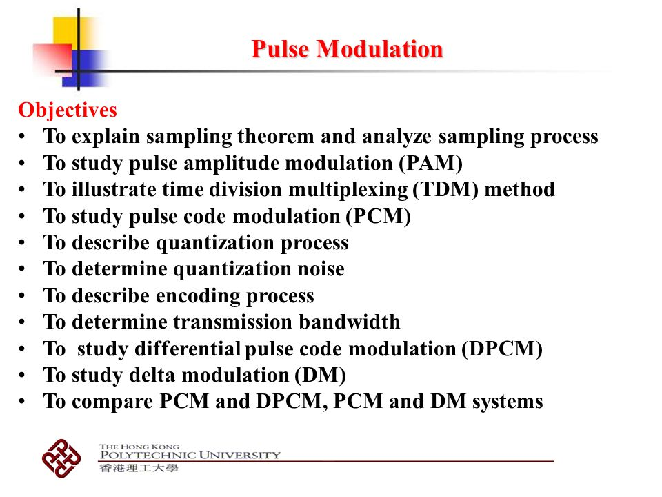 Pulse Modulation Objectives Ppt Video Online Download