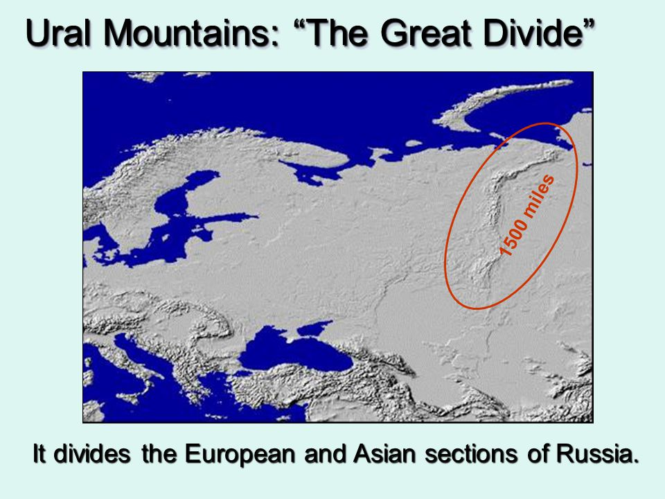 It divides the European and Asian sections of Russia.
