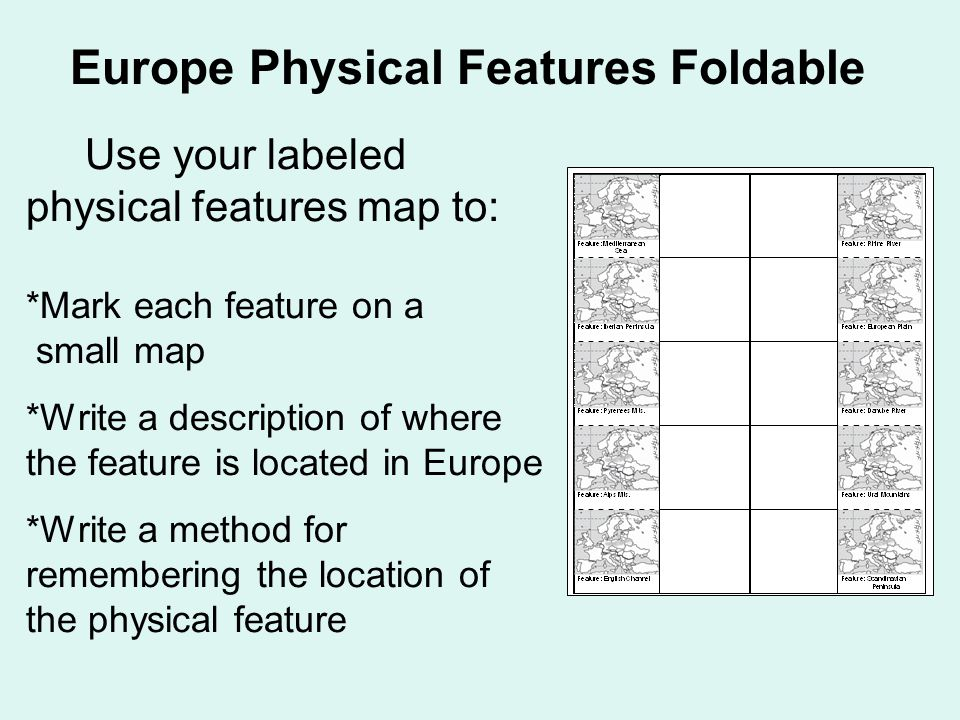 Europe Physical Features Foldable