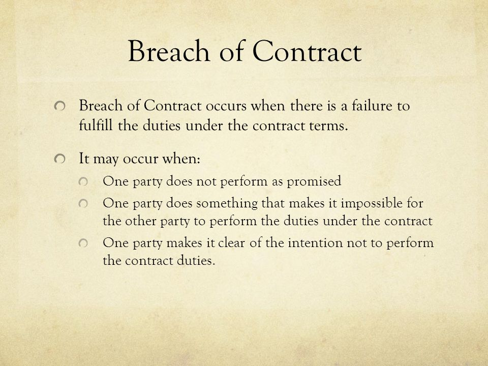Breach Of Contract And Remedies  Ppt Video Online Download