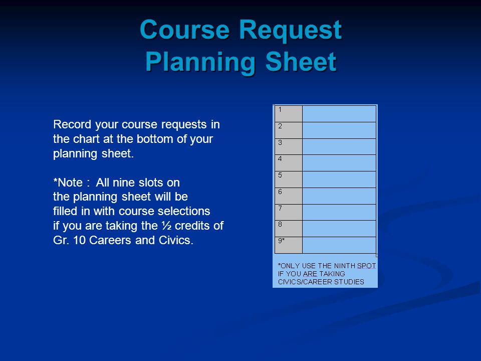 Course Request Planning Sheet