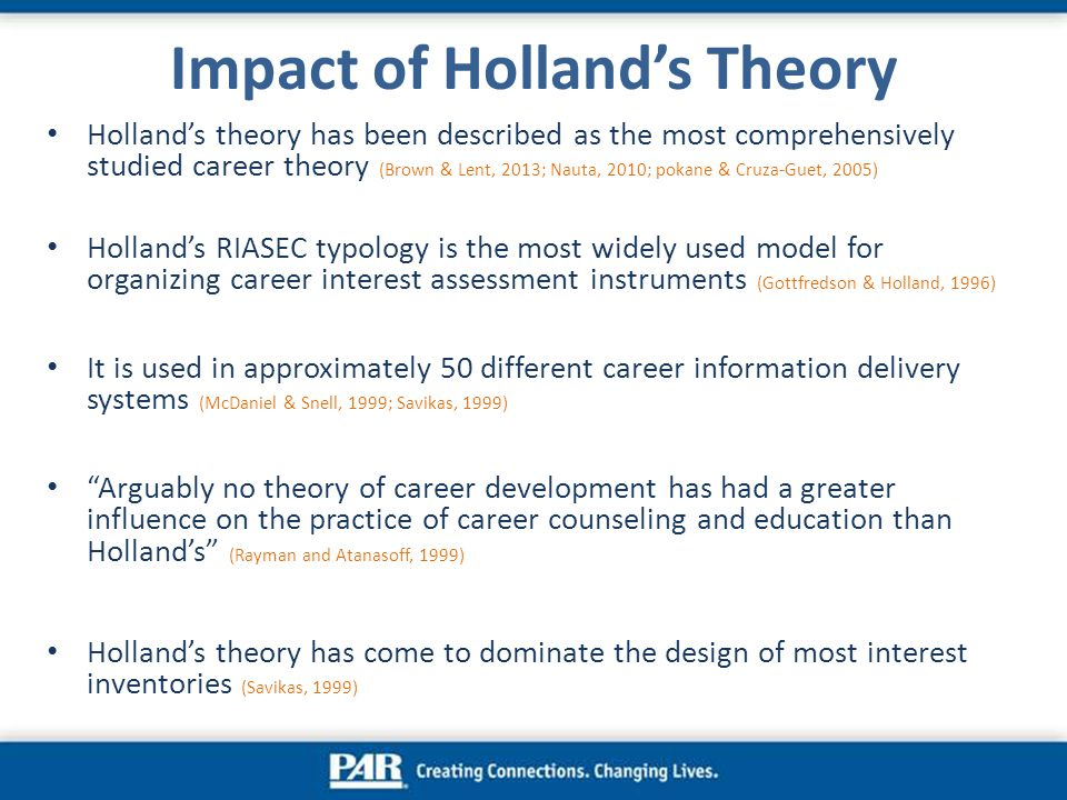 holland theory This is based on dr john holland's theory that people and work environments  can be loosely classified into six different groups each of the letters above.