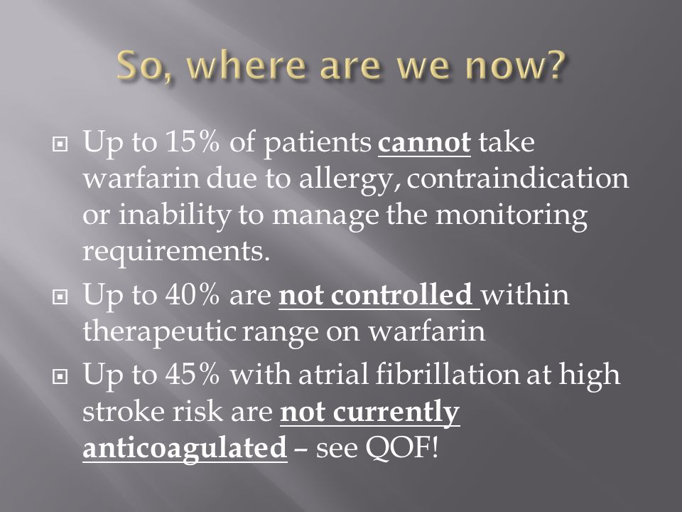 So, where are we now Up to 15% of patients cannot take warfarin due to allergy, contraindication or inability to manage the monitoring requirements.