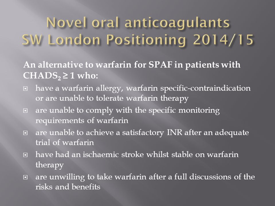 Novel oral anticoagulants SW London Positioning 2014/15