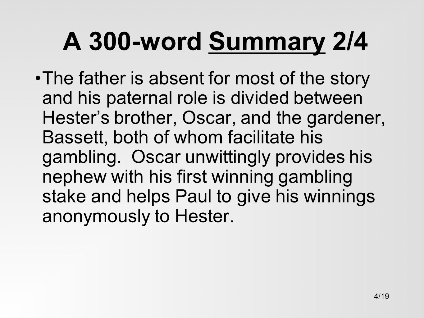 a character analysis of pauls mother in the rocking horse winner This essay the rocking horse winner theme analysis and  the horse races he decided to give his mother 5000 pounds  the end results in pauls death and.