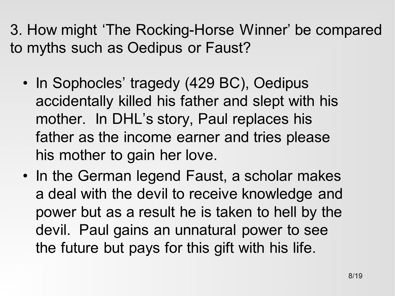 the rocking horse winner materialism Dvd review -- the rocking horse winner based on a story by dh lawrence directed by anthony pelissier starring valerie hobson, john howard davies, ronald squire.
