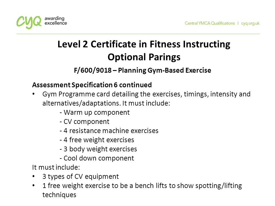 level 2 certificate in fitness instructing