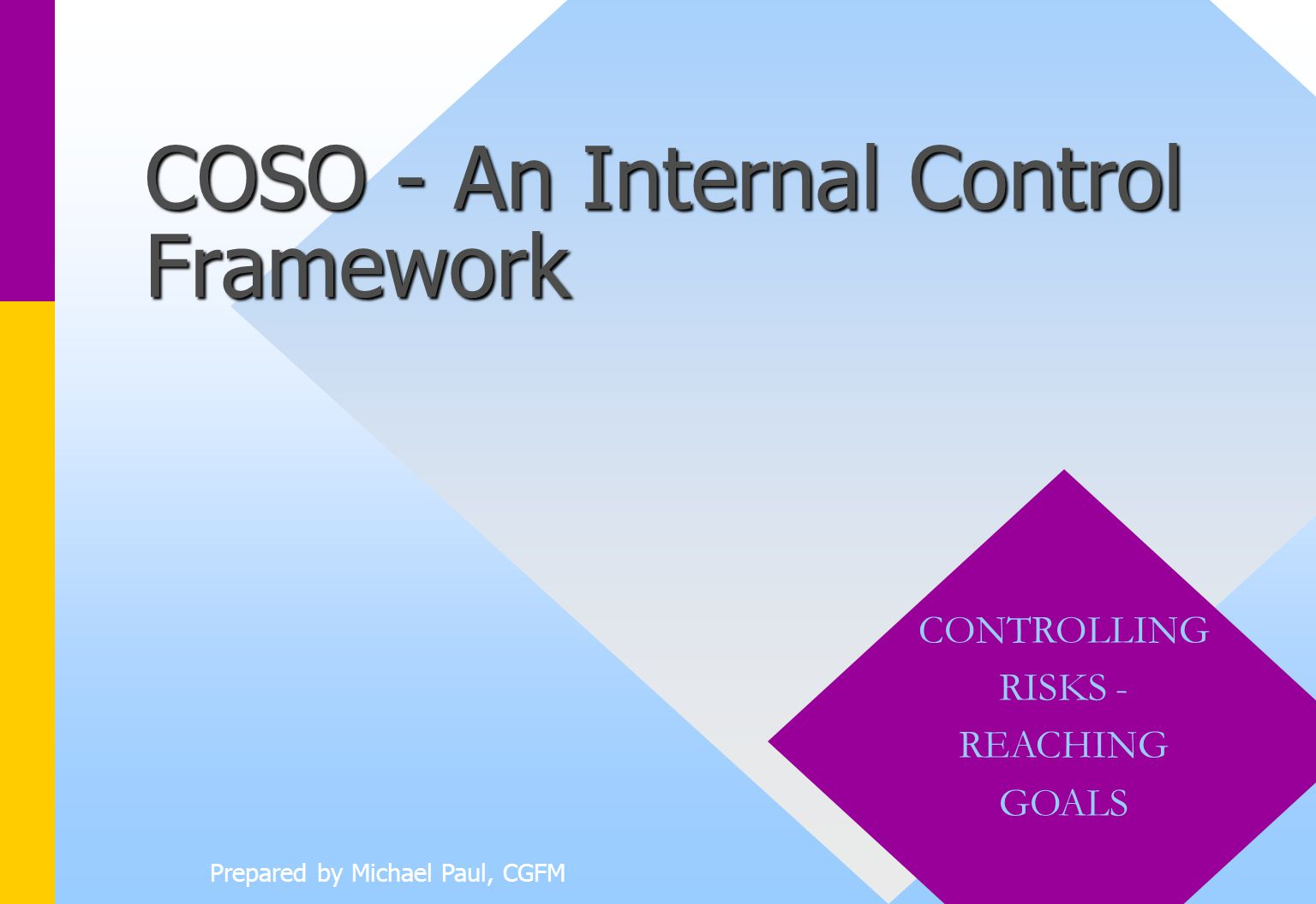 coso presentation Buying time on coso's internal control framework too many  spreadsheets,  and presentations that link your critical business data in one place information.