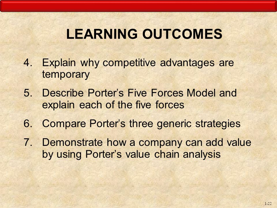 LEARNING OUTCOMES Explain why competitive advantages are temporary