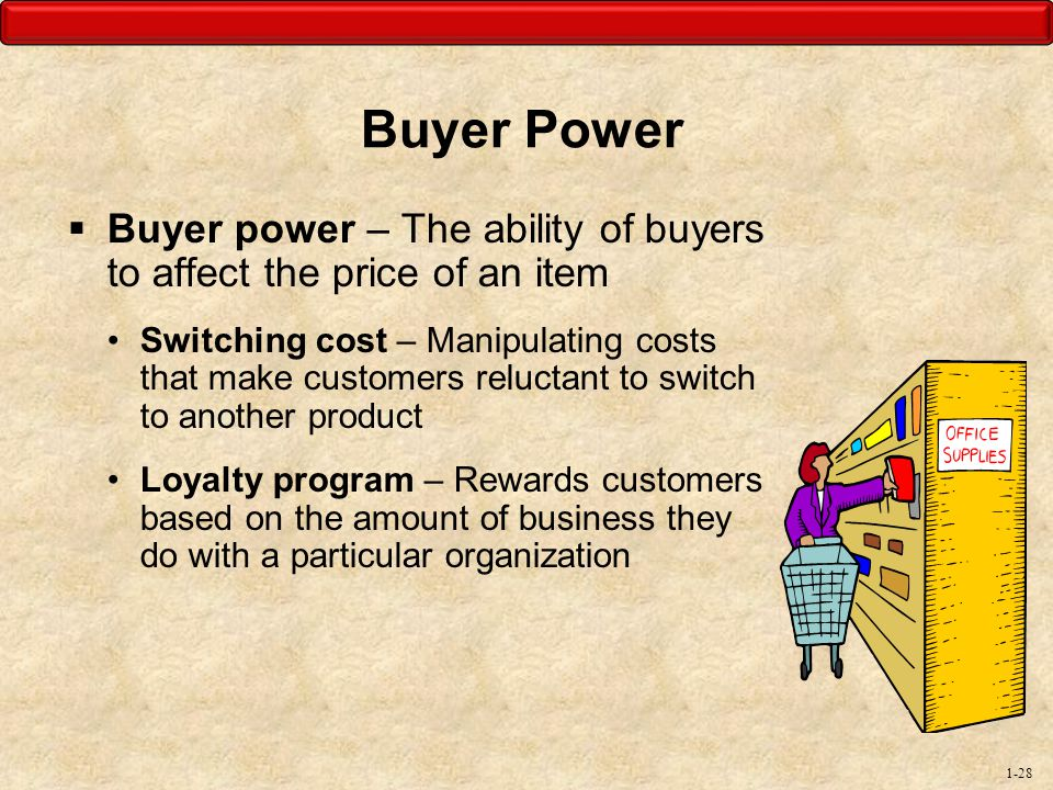 Buyer Power Buyer power – The ability of buyers to affect the price of an item.