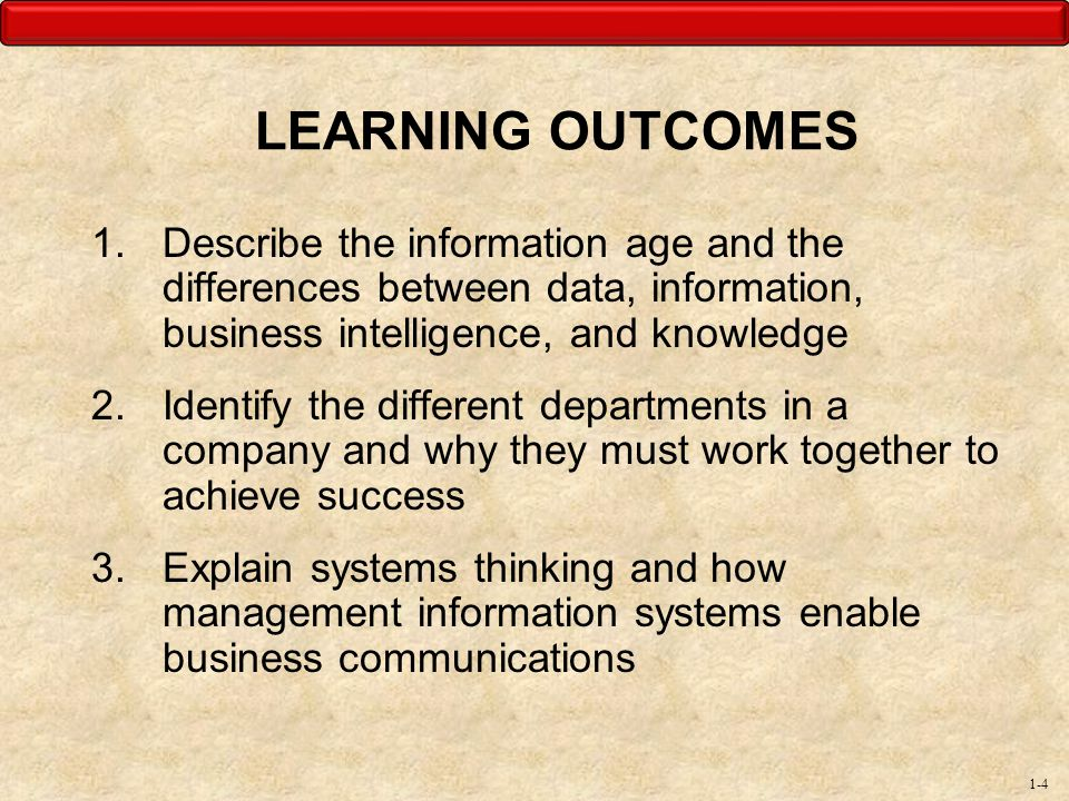 LEARNING OUTCOMES Describe the information age and the differences between data, information, business intelligence, and knowledge.