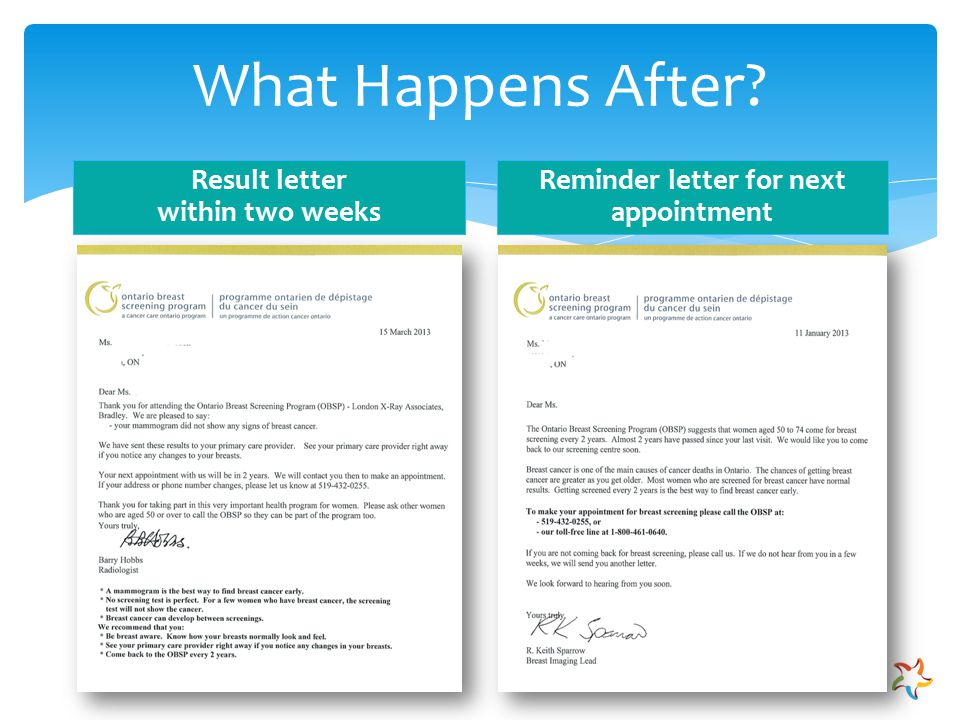 Breast Cancer Screening. Breast Cancer Screening SAVE. Mammogram Appointment Reminder Letter ...