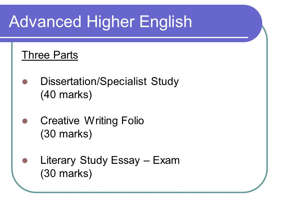 Higher English Creative Writing Plan  Higher English Creative Writing Plan