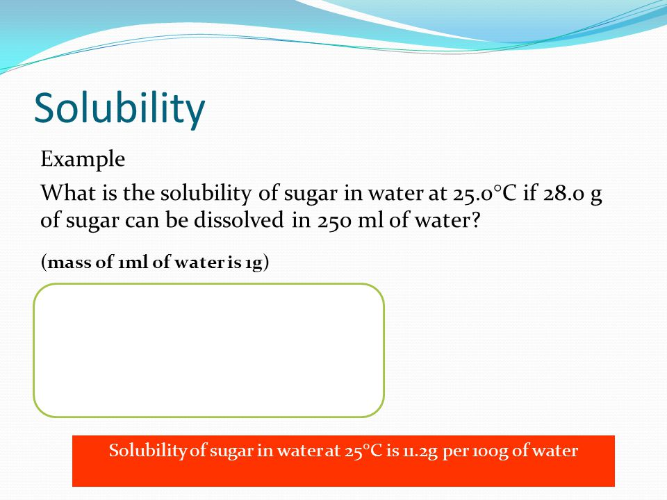 how to find the solubility of sugar
