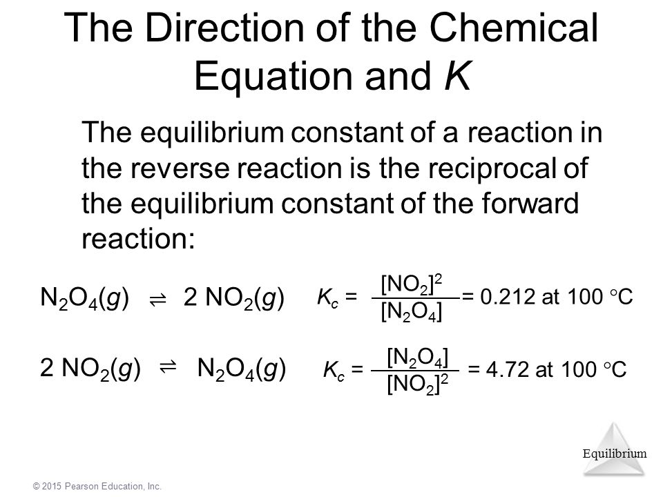 The Direction of the Chemical Equation and K