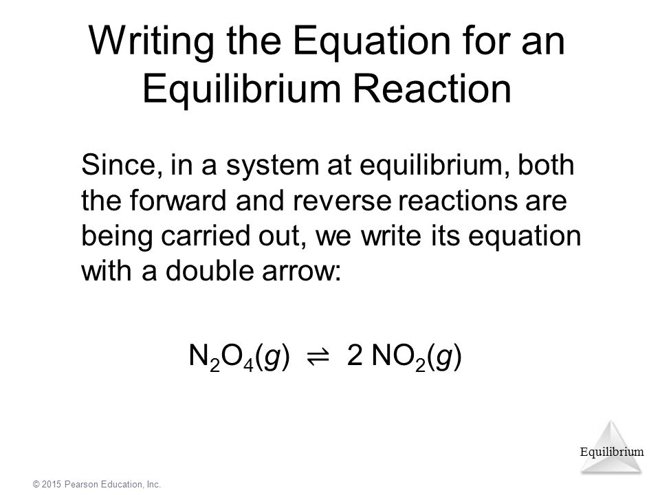 Writing the Equation for an Equilibrium Reaction