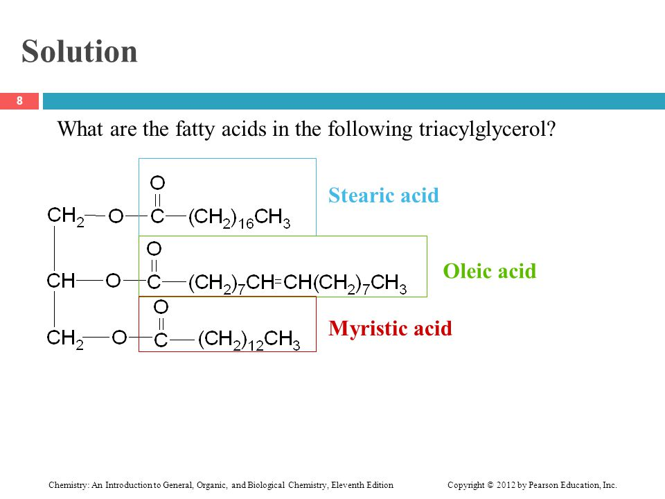 Solution What are the fatty acids in the following triacylglycerol