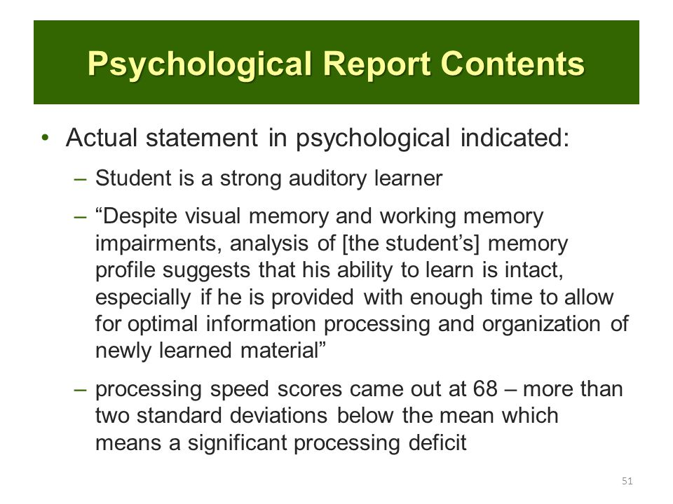 Psychological Report Confidentiality Psychological Report Sample