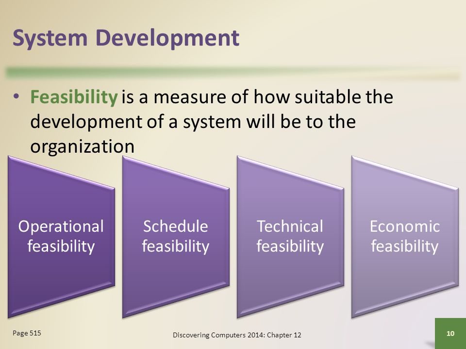 System Development Feasibility is a measure of how suitable the development of a system will be to the organization.