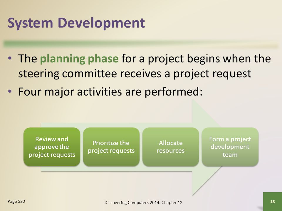 System Development The planning phase for a project begins when the steering committee receives a project request.