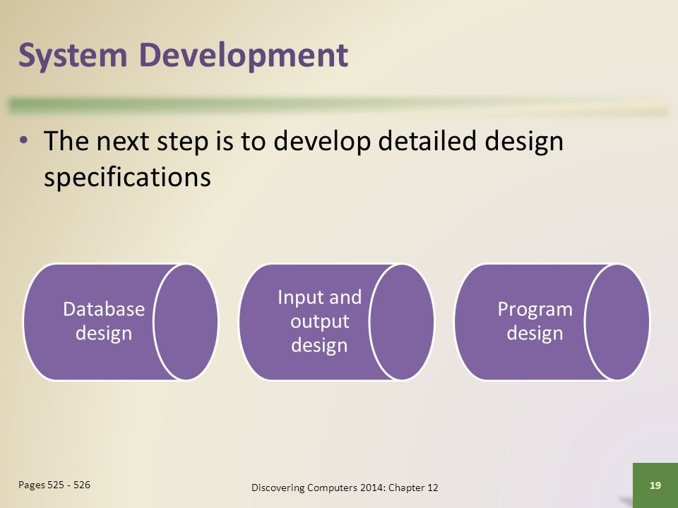 System Development The next step is to develop detailed design specifications. Database design. Input and output design.