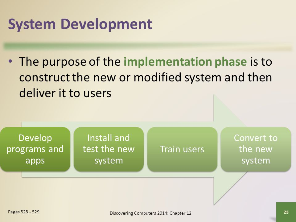 System Development The purpose of the implementation phase is to construct the new or modified system and then deliver it to users.