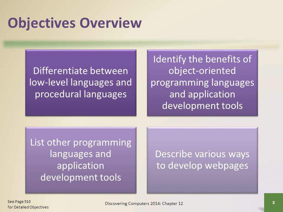 Objectives Overview Differentiate between low-level languages and procedural languages.