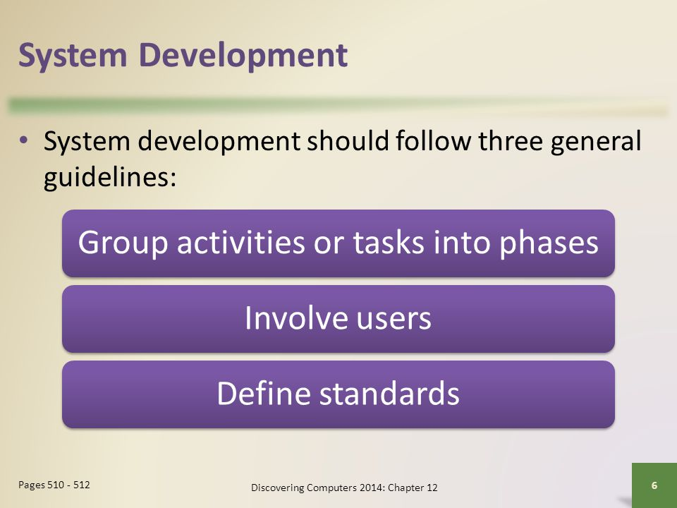 System Development Group activities or tasks into phases Involve users