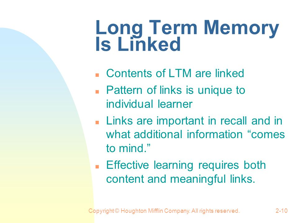 Long Term Memory Is Linked