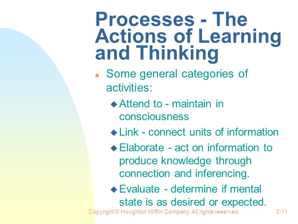 Processes - The Actions of Learning and Thinking