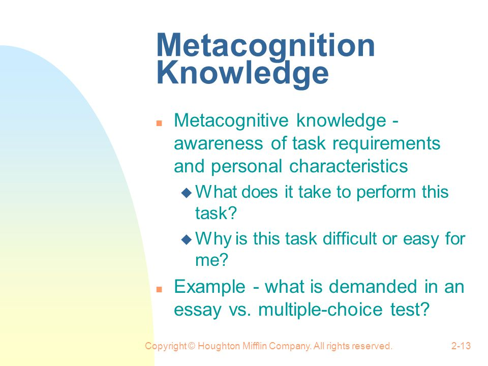 Metacognition Knowledge