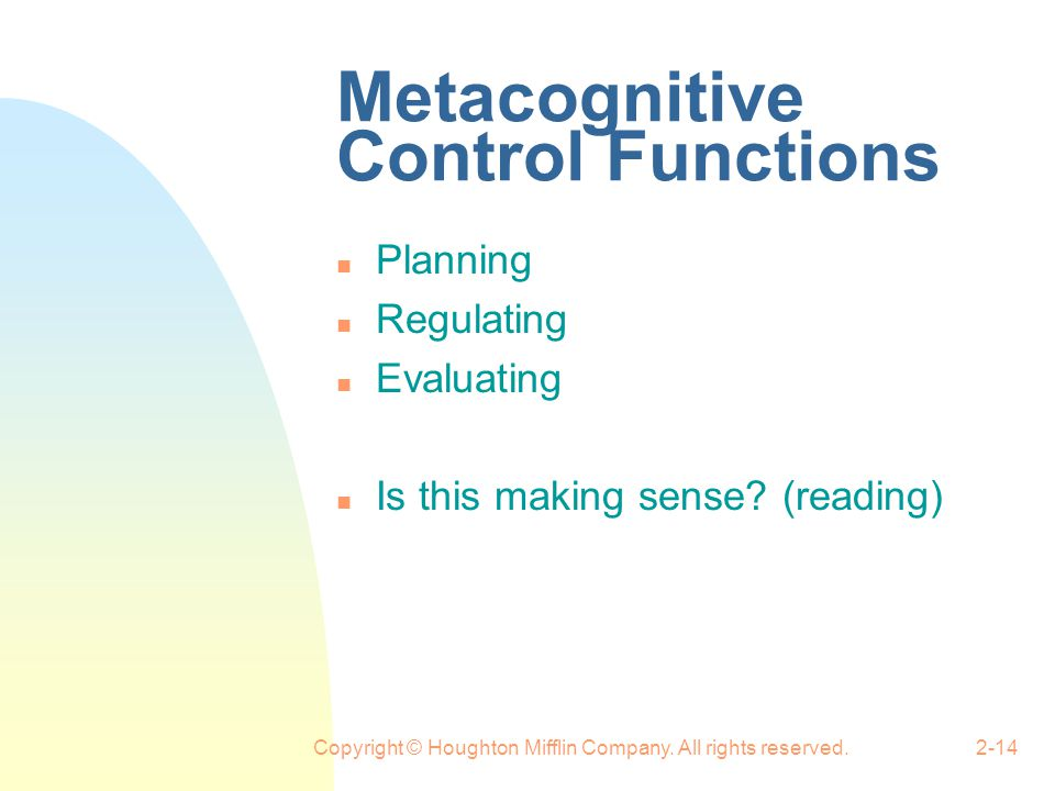Metacognitive Control Functions