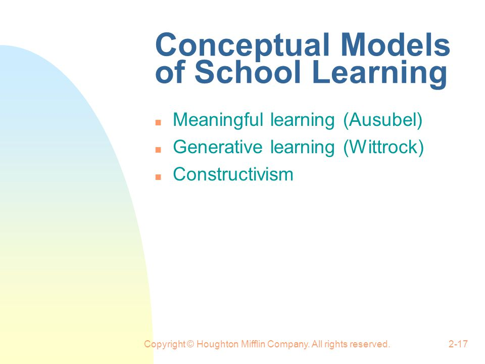 Conceptual Models of School Learning