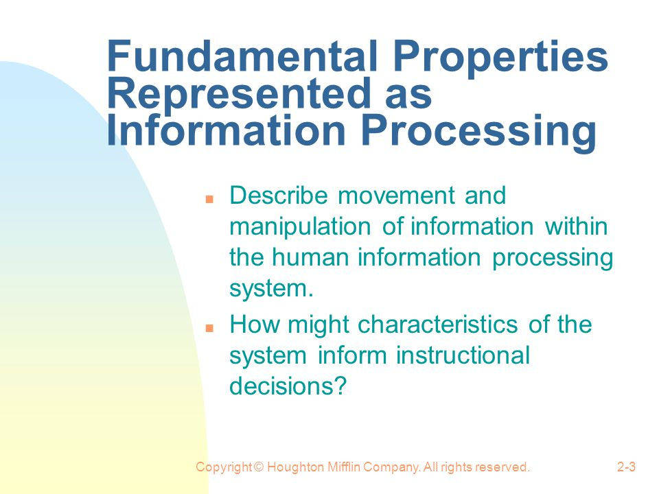 Fundamental Properties Represented as Information Processing