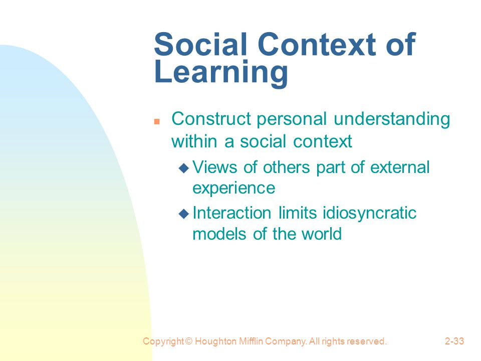 Social Context of Learning