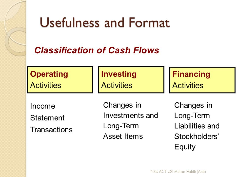 relationship between cash flows from operating investing and financing activities