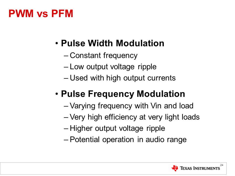 PWM vs PFM Pulse Width Modulation Pulse Frequency Modulation