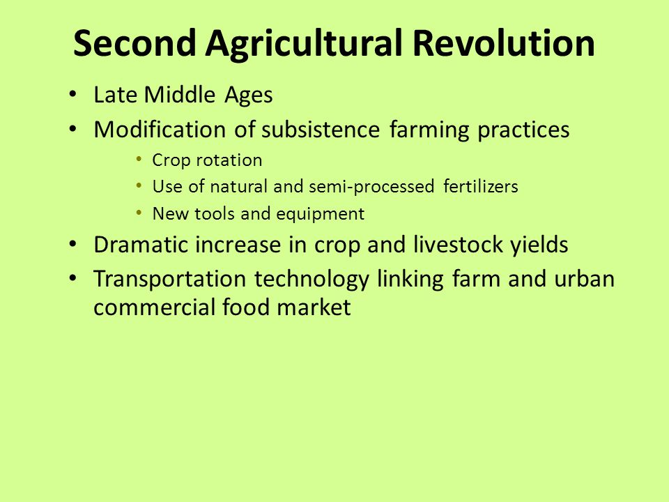 Agricultural and urban revolutions