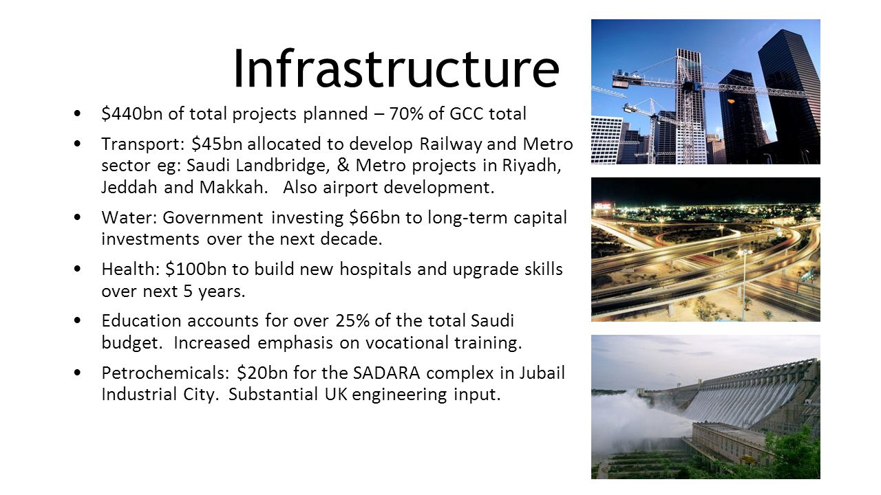Infrastructure $440bn of total projects planned – 70% of GCC total