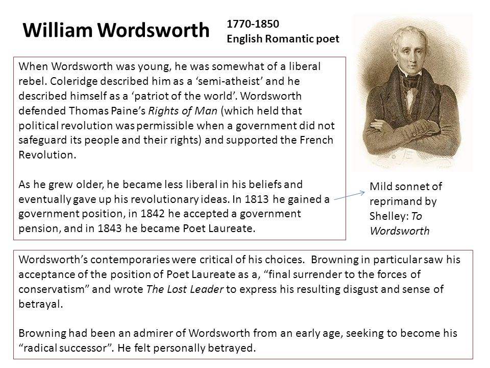 a biography of william wordsworth an english romantic poet William wordsworth - biography major english romantic the spiritual growth of the only true romantic hero, the poet thus wordsworth evolved a new genre.