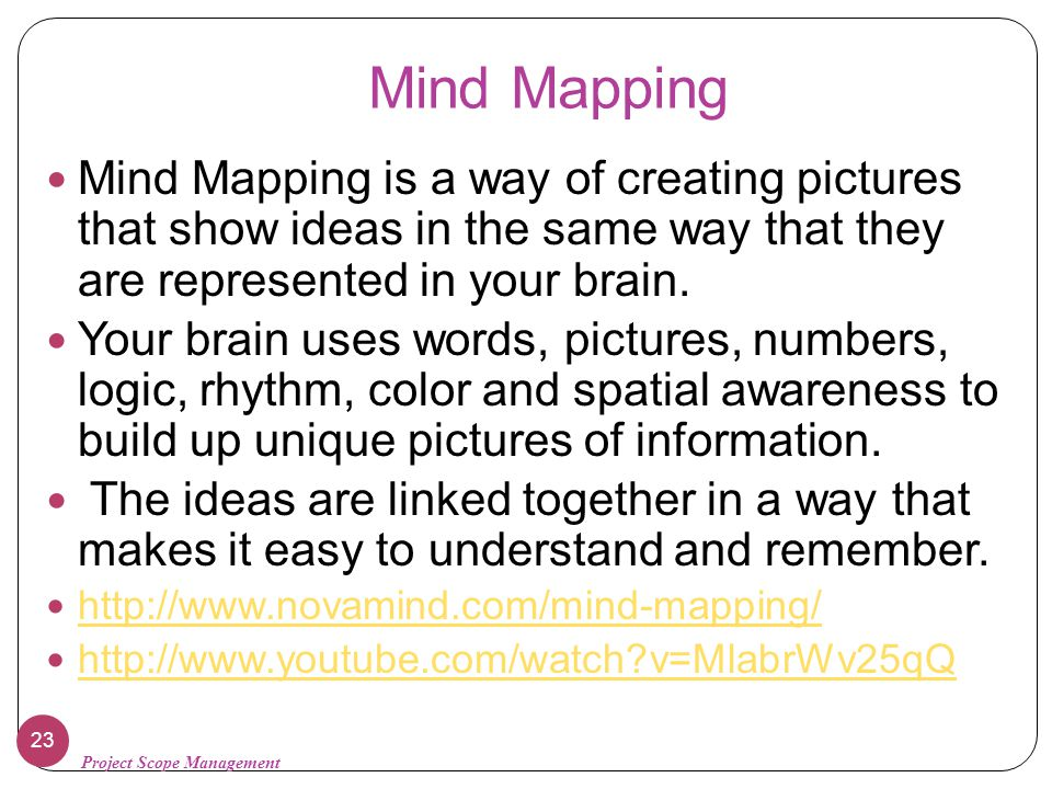 Mind Mapping Mind Mapping is a way of creating pictures that show ideas in the same way that they are represented in your brain.