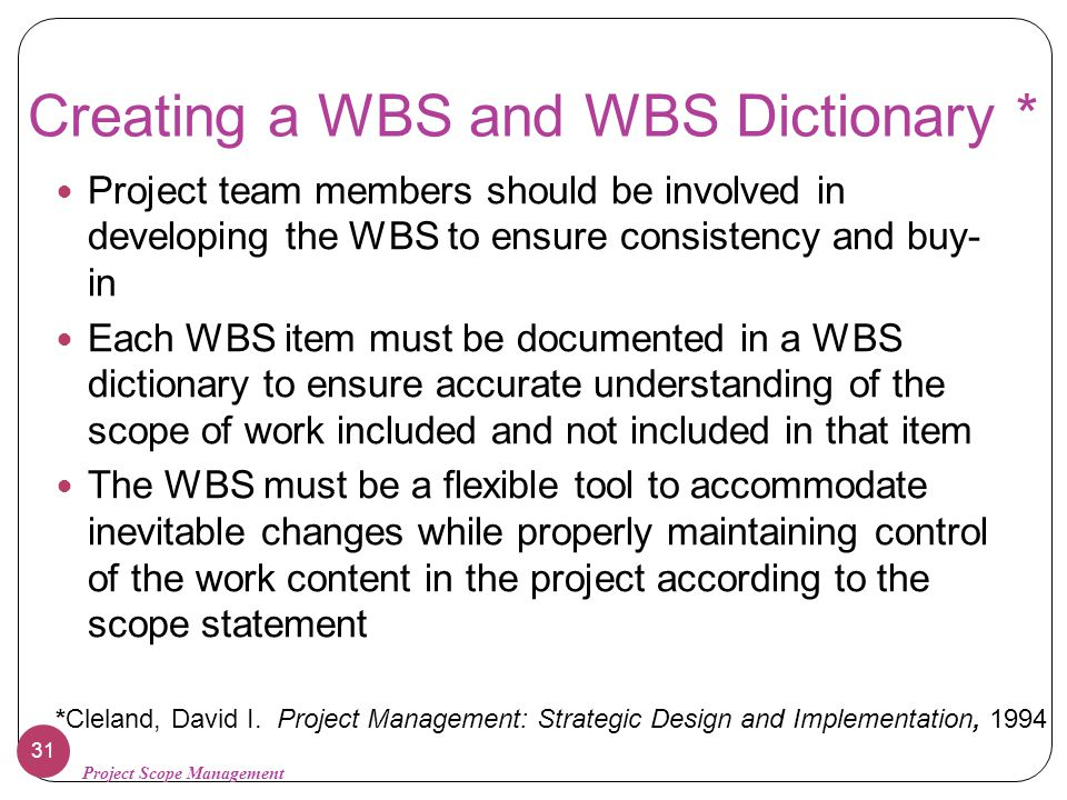 Creating a WBS and WBS Dictionary *