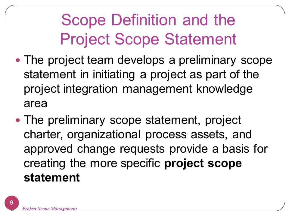 project scope definition Project scope definition: a spares office of project assessment office of science, us department of energy fpd forum february 15, 2017 office of.