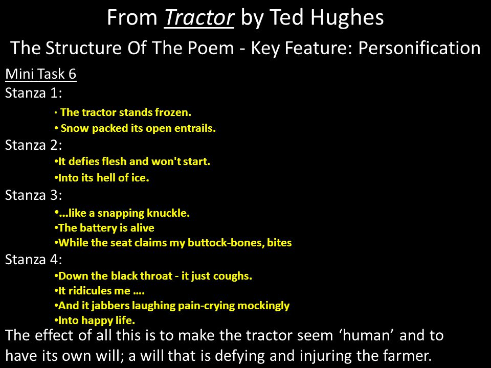 analysis of tractor by ted hughes Written commentary on the poem tractor the poem tractor is written by ted  hughes is literally about a tractor the season is winter and the.
