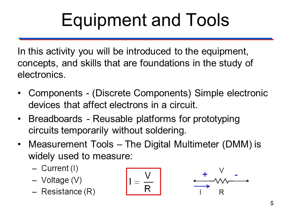 Circuit Theory Laws Equipment and Tools. Digital Electronics TM. 1.2 Introduction to Analog.